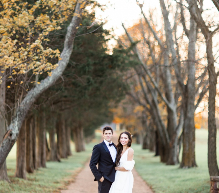 Tree lined drive wedding venue